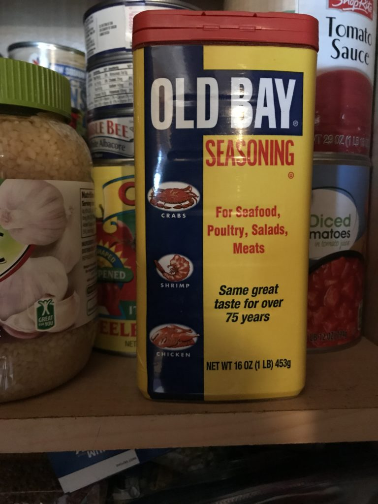 Can of Old Bay in the pantry.