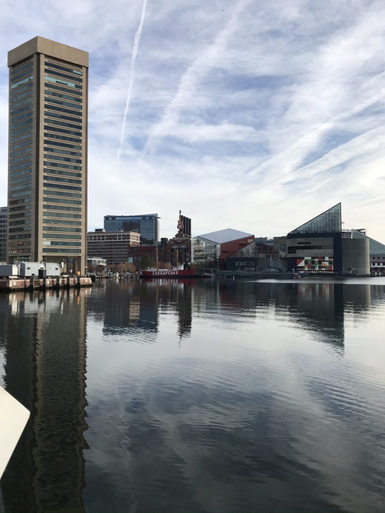 The World Trade Center and National Aquarium in Baltimore's Inner Harbor
