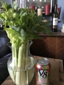 Crabby Bloody Mary ingredients - celery and spicy V-8