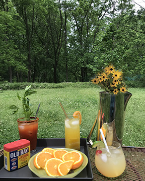 Iconic Baltimore beverages: Crabby Bloody Mary, Orange Crush, and Preakness Black-Eyed Susan