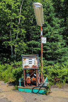 Old rusted out-of-order gas pump.