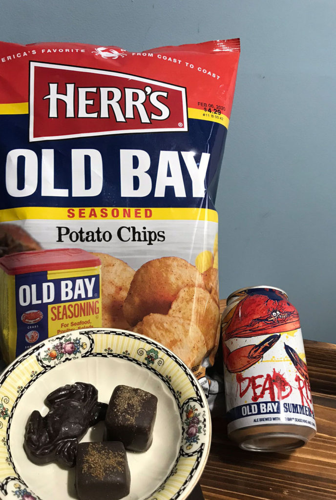 Old Bay chips, beer, and chocolates.