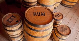 Wooden barrels of rum.