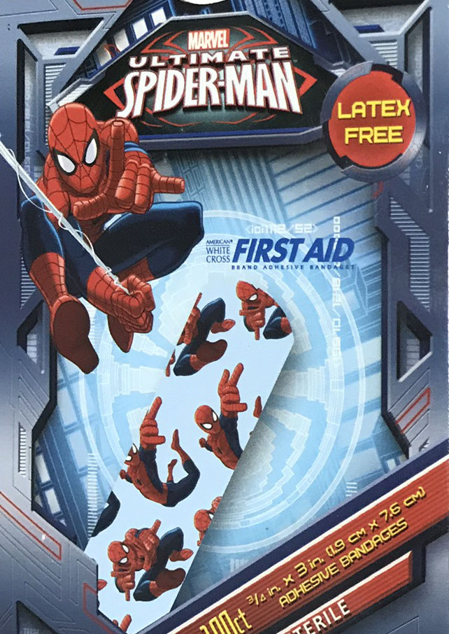 A box of Spider-Man band aides for basic emergency Spider-Man situations.