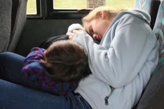 The joy of sleeping kids in the car.