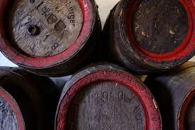 Wooden barrels of beer.