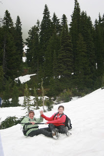 Butt sliding down a snowy hill in summer is always a blast!