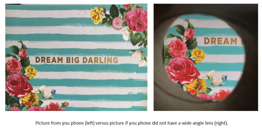 Graphic demonstrating what a smart phone image would like with and without a wide angle lens.